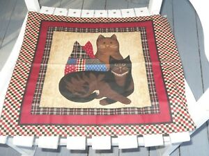 New Cat Pillow Panels Fabric Front And Back Great Farmhouse Country Decor
