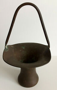 Antique Copper Vase In A Rustic Arts And Crafts Style