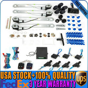 Universal Electric 4 Power Window Conversion Kit Roll Up 4 Door Lock For Cars Us