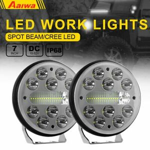 2x 7 Inch Led Pods Work Light Bar Round Driving Fog Headlight Truck Off Road