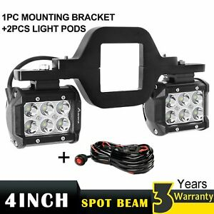 Tow Trailer Hitch Mount Bracket W Pair 4inch Cube Pod Led Lights For Truck Suv