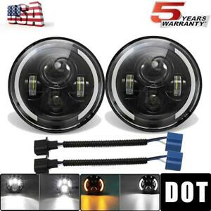 Pair 7 Inch Cree Led Headlight Halo For Jeep Wrangler Jk Tj Cj Lj Chevrolet Ford