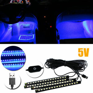 4pcs Blue 12 Led Lighting Strip For Car Interior Decoration 8 Styling Ambient