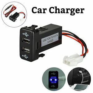 3 1a Car Charger Socket Dual 2 Usb Port Charging Power Adapter Outlet For Toyota