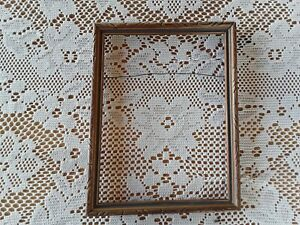 Very Pretty Small Vintage Wood Frame Nice Carving Gold Blue 8 X 6 Opening