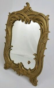 Vintage Gold Framed Table Top Dresser Vanity Mirror Syroco Hollywood Regency