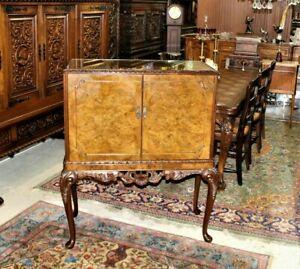 English Antique Queen Anne Burled Walnut Bar Cabinet With Light