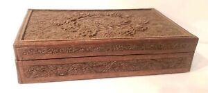 Vintage Hand Carved Walnut Wood Collectibles Jewelry Cigar Box From Kashmir