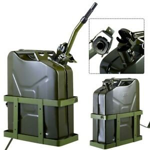 5 Gallon Jerry Can Military Style Gas Gasoline Fuel Storage Steel Tank W Holder