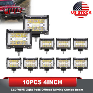 10pcs 4inch Led Work Light Pods Combo Beam Side Shooter Light Bar Offroad