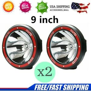 1 Pair 100w 9 Inch Hid Xenon Driving Lights Spotlights Offroad Lamp Truck Red
