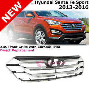 For 13 16 Hyundai Santa Fe Sport 5 Seat Front Grille Replacement Black Chrome