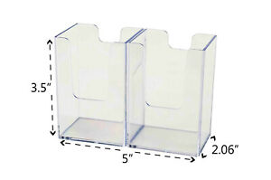 Vertical Business Card Holder Double Pocket Display Counter Stand Qty 6