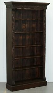 Ornately Carved Solid English Oak Victorian Library Bookcase In Jacobean Style