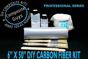Diy Carbon Fiber Fabric Kit 6 X 50 1x1 Plain Weave Skinning Laminating Auto Rc