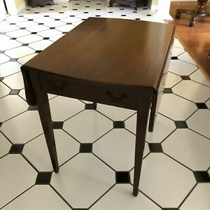 Antique Mahogany Pembroke Drop Leaves Narrow Side End Table Two Drawer 1920 S