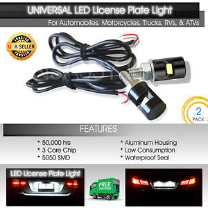 Universal White Led License Plate Light Motorcycle Car Truck Suv Trailer Screw 2
