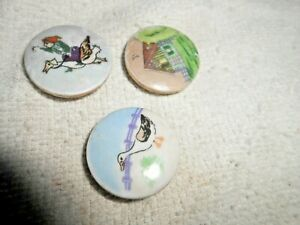 Vintage Hand Painted Satsuma Porcelain Buttons Lot Of 3 Nice 1