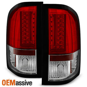 Fits 2007 13 Chevy Silverado 1500 2500hd 3500hd Pickup Red Clear Led Tail Light