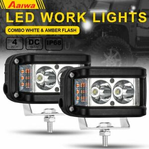 4 Inch Led Work Light Bar Side Shooter Combo White Amber Flash Strobe Lamp Suv