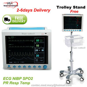 Rolling Stand With Icu Patient Monitor vital Signs 7 Parameters Monitor cms8000