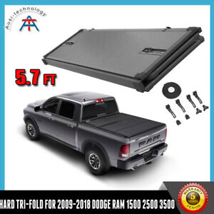 Hard Tri Fold Tonneau Cover For 2009 2018 Dodge Ram 1500 Crew Cab 5 7ft Bed