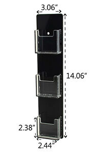 Business Card Holder 3 Pocket Vertical Wall Mount Clear W black Backing Qty 24