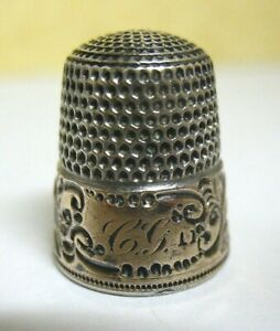 Victorian 14k Gold Sterling Silver Thimble Initials Cg Size 11 6 4 Grams