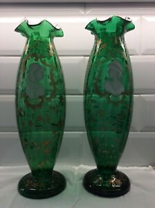 Antique Moser Mary Gregory Style Vases A Pair