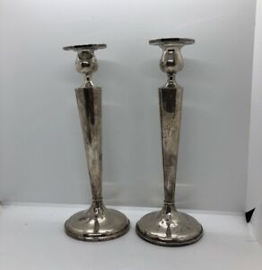 Vintage Art Deco Sterling Silver Weighted Candlesticks Not Scrap