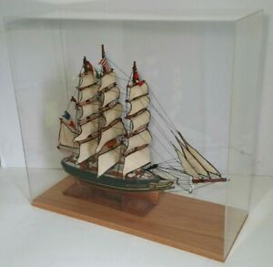 Vintage Wooden Ship Model Cutty Sark 1869 Acrylic Display Case