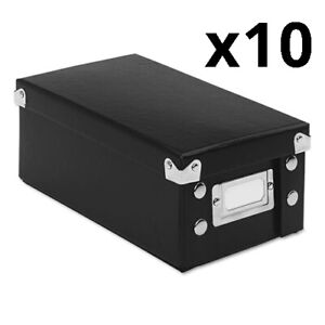 Collapsible Index Card File Box Holds 1 100 3 X 5 Cards Black Pack Of 10