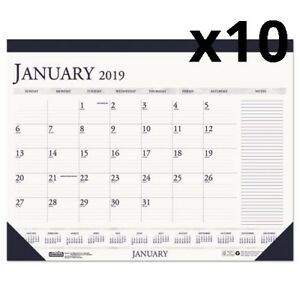 Recycled Two color Monthly Desk Calendar W large Notes Section 18 1 2 X13