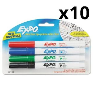 Low odor Dry erase Marker Ultra Fine Point Assorted 4 pack