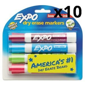 Low Odor Dry Erase Marker Chisel Tip Classic Colors Assorted 4 set