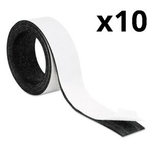 Magnetic Adhesive Tape Roll Black 1 2 X 7 Ft Pack Of 10