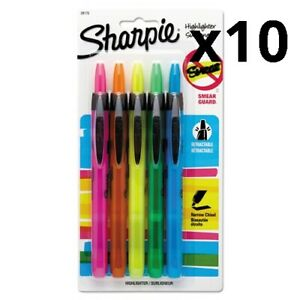 Retractable Highlighters Chisel Tip Assorted Colors 5 set Pack Of 10