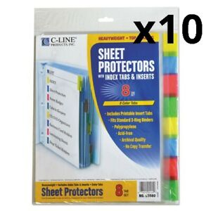 Sheet Protectors With Index Tabs Assorted Color Tabs 2 11 X 8 1 2 8 st