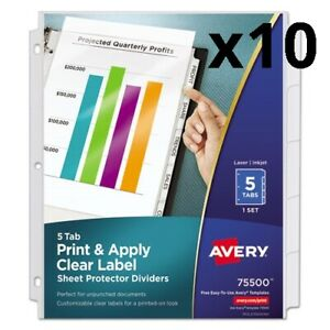 Index Maker Print Apply Clear Label Sheet Protector Dividers 5 tab Letter
