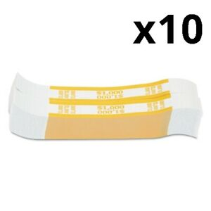 Currency Straps Yellow 1 000 In 10 Bills 1000 Bands pack Pack Of 10