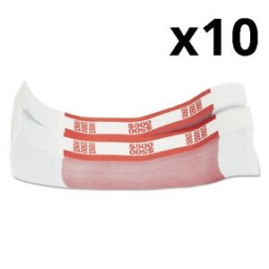Currency Straps Red 500 In 5 Bills 1000 Bands pack Pack Of 10