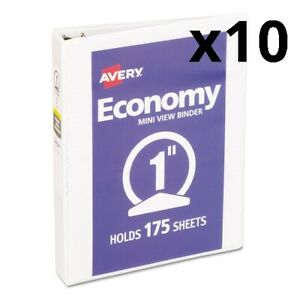Economy Mini View Binder W round Rings 8 1 2 X 5 1 2 1 Cap White Pack Of 10