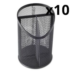 Metal Mesh 3 compartment Pencil Cup 4 1 8 Dia 6 h Black Pack Of 10