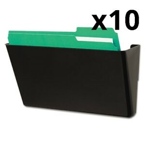 Wall File Add on Pocket Plastic Black Pack Of 10