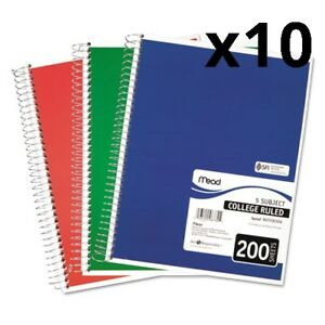 Spiral Notebook 5 Subjects Medium college Rule Assorted Color Covers 11 X