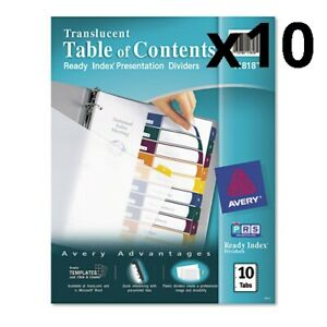 Ready Index Customizable Table Of Contents Plastic Dividers 10 tab Letter