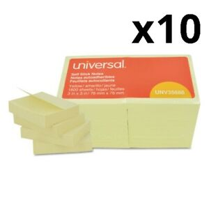 Self stick Note Pads 3 X 3 Yellow 100 sheet 18 pack