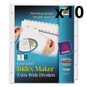 Print And Apply Index Maker Clear Label Dividers 5 White Tabs Letter Pack Of