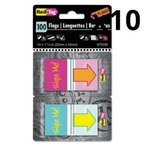 Pop up Fab Page Flags W dispenser sign Me Red orange Teal yellow 100 pack