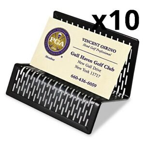 Urban Collection Punched Metal Business Card Holder Holds 50 2 X 3 1 2 Black